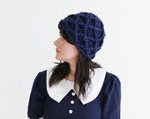 Fall Crochet Hat - Texture Beanie- Warm Winter Hat -  Winter and Fall Accessories - Chunky Winter Skull Cap Hat in Navy | The Triton Hat |