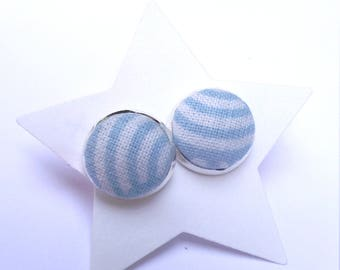 Fabric - blue and white stripes Stud Earrings