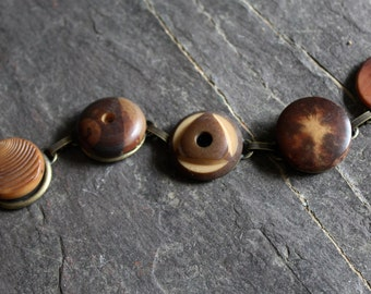 Vegetable Ivory antique button bracelet jewelry, vintage, victorian, tagua nut buttons, 1900's organic rich in color