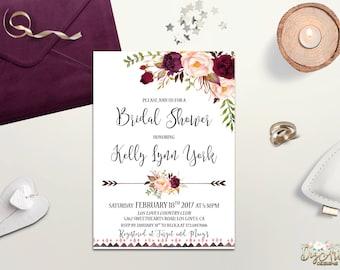 Boho Bridal Shower Invitation Printable Floral Bridal Shower Invite Burgundy Blush Bridal Shower Rustic Bridal Shower, Digital or Printed