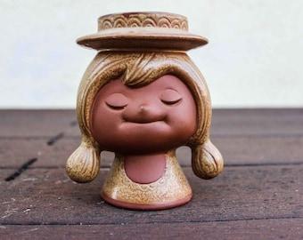 Vintage Retro Ceramic Girl Candle Holder