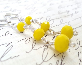 Bright Yellow Dangle Earrings - Yellow Faceted Glass Earrings - Bright Yellow Long Earrings