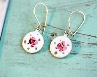 Drop Earrings Pink, Flower Earrings, Enamel Flower Earrings, Enamel Earrings, White Earrings, Rose Earrings