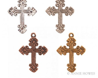 Ornate Cross Pendant or Large Charm. Choose Your Color. Annie Howes.