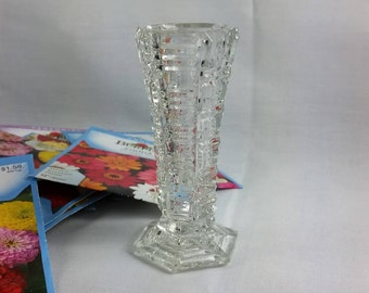 Small Bud Flower Vase, Posy Vase, Clear Glass, Small Polygon Shape, Perfect for Dandelions and Violets