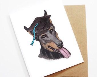Graduation Card - Doberman, Grad Card, College Graduation, High School Grad, Congrats Grad, Congrats Card, Cute Dog Card