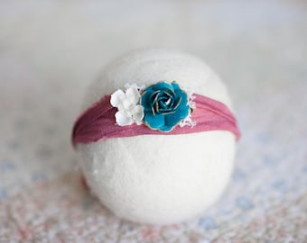 Newborn Tieback, Turquoise Tieback, Dark Pink Newborn Tieback, Teal Flower Tieback, Great Newborn Photo Prop