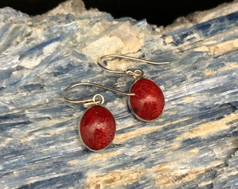 Red Sand Coral Earrings // Coral Earrings // Oval Sterling Silver Setting // Red Silver Earrings