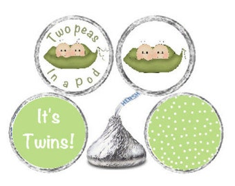 Baby Shower Candy Kiss 324 Glossy Stickers Twins Labels - Pea Pods Pea Pod Twins Candy labels for Party Favors  **Discounts Available
