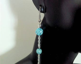 Dangling earrings, Pearl turquoise Crackle effect - By Lily Creart'