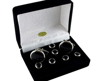 Cufflink and 6 Studs Set - Tuxedo Formal Cufflink Set - Silver Cufflink Set - Black Shirt Set