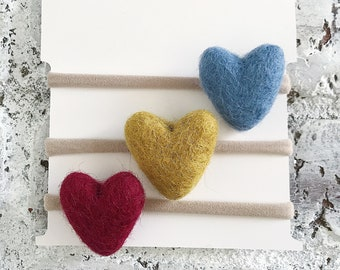 Wool heart clips and headbands