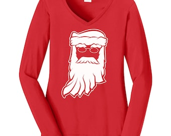 Santa Clause Indiana Christmas Womens Long Sleeve Red Tee. V-Neck Holiday Tee / Ugly Christmas Sweater / Christmas Party / Hoosiers / XMAS