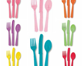 Rainbow Unicorn Plastic Cutlery Set Forks Spoons Knives ~ U Pick Custom Colors u0026 Quantity 12pc. 24pc. ~ Dinnerware Pink Purple Yellow +++  sc 1 st  Etsy : custom plastic dinnerware - pezcame.com