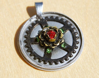 Steampunk jewelry OOAK, Steampunk necklace, Steampunk pendant, Rose and gears, Recycled clock parts