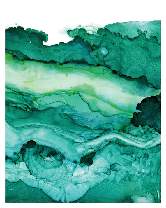 Undercurrent Emerald Ink Art Print Ocean Surf