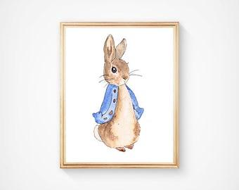 Peter the Rabbit Print, Nursery Rhyme Art, Woodland Animal Art, Nursery Book Art, Blue Childrens Decor, Rabbit Wall Art, Forest Nursery Art