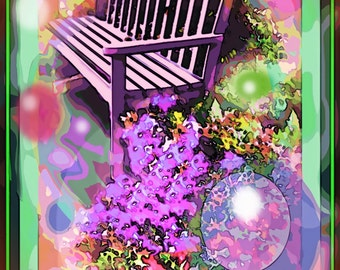 Painterly photograph of park bench with bright colours, circles, swirls, purple flowers
