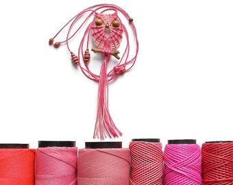 Shades of Pink Macrame Owl Necklace