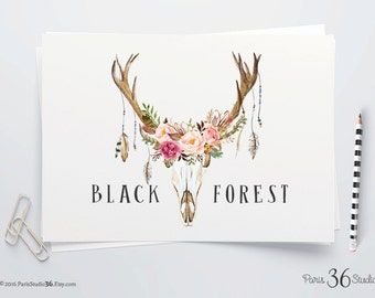 DIY PNG Logo Download Watercolor Floral Logo Antler Logo PNG Logo Template Photography Instant Logo Website Blog Logo Rustic Logo Download
