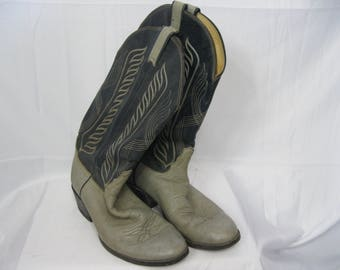Blue and Gray Distressed Leather Tony Lama Cowboy Boots