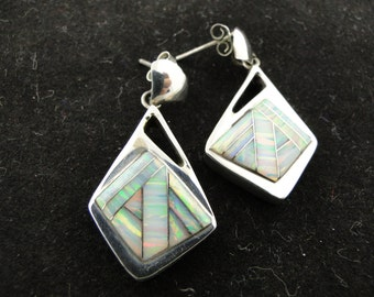 White with Pink Green Fire Opal Earrings Sterling Silver