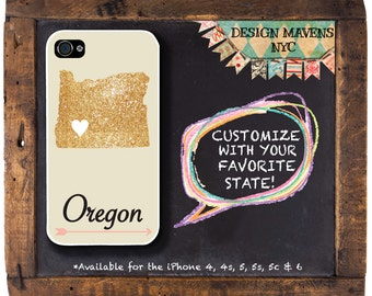 Oregon iPhone Case, Personalized State Love iPhone Case, Fits iPhone 4, iPhone 5, iPhone 5s, iPhone 5c, iPhone 6, NOT REAL GLITTER