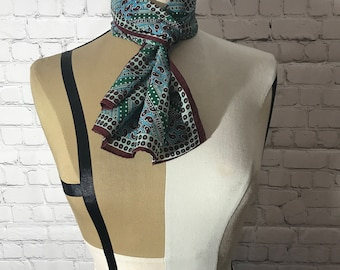 Womens Vintage Glentex Scarf, Multi-Colored with Paisleys, Polka Dots and Stripes