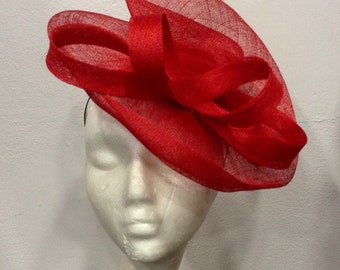 "Red fascinator, fascinator hat, red, red, sisal, sinamay, cocktails, weddings ceremony form ""double scroll"""