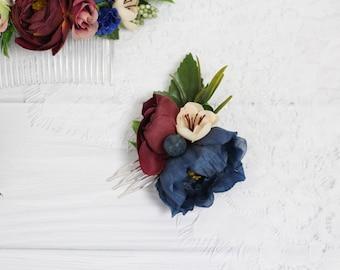 Navy blue burgundy wedding hair comb Burgundy bridal Floral accessory navy blue hair comb burgundy Floral comb burgundy Bridal hair comb