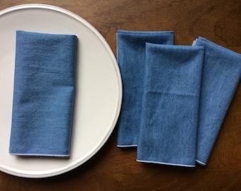 """Soft Blue Denim Cloth Napkins 18"""", Set of 12"""