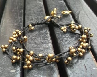 Gold Charm brass beads bracelet from Thailand by Nannapatt/summer/holiday/vacation/party/sea/sand/sun/Hippies bracelet/Boho Bracelet/Gypsy