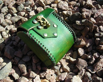 Green Leather LARP Costume Pouch
