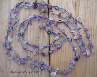 Crocheted Beaded Necklace, Gemstone Necklace, Multistrand, Wrap Bracelet, Purple and Green, Calming Necklace, Slip on Necklace