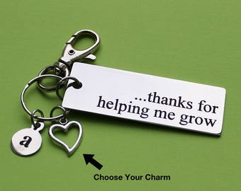 Personalized Teacher Key Chain Thanks For Helping Me Grow Stainless Steel Customized with Your Charm & Initial - K167