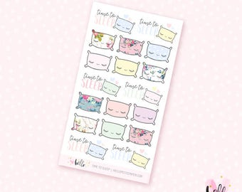 Time to sleep mini sheet - 18 floral stickers for the Erin Condren, Personal planners, Travelers notebooks