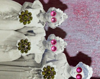 Flower Girl Wall Decor. Assemblage Art. Altered Vintage Photograph. Pink and White.