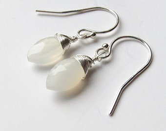 Silver Moonstone Earrings-Moonstone Jewelry-June Birthstone Earrings-June Birthday Gift-Christmas Gift for Her-Wire Wrapped Gemstone Gift