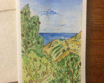 Greetings Card - View from Paphos Forest - Original Artwork