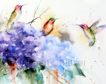 HUMMINGBIRD and FLOWERS Watercolor Print by Dean Crouser
