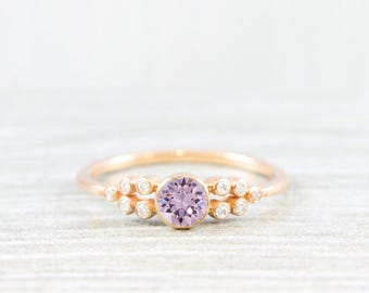 Lavender amethyst and diamond art deco 1920's inspired engagement ring in rose/yellow/white gold or platinum handmade