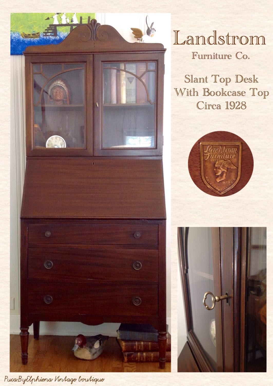 🔎zoom - Vintage Mahogany Landstrom Slant Top Desk With Bookcase Top /