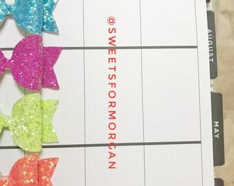 Neon planner clip set, planner clips, glitter planner clips