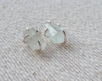 Moss Aquamarine Stud Earrings. Stud Earrings. Aquamarine Earrings. Aquamarine. Earrings. March Birthstone. Gemstone Earrings. Gift for Her.
