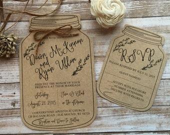 Mason Jar Wedding Invitation, Shabby Chic Wedding Invitation, Barn Wedding Invitation, Rustic Wedding Invitation, Country Wedding