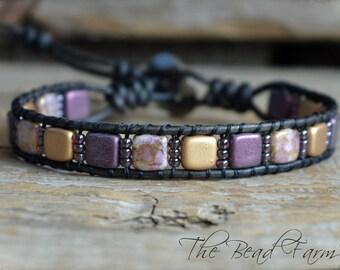 Tile Bracelet, Tile Wrap Bracelet, Beaded Leather Wrap Bracelet, Wrap Bracelet, Women's Handmade Bracelet, Tile Bead Bracelet