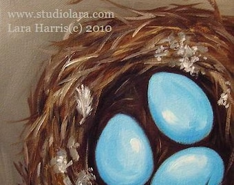 CUSTOM Robin's Nest with Three Blue Eggs Painting in OIL by LARA 6x6 or 5x7 Woodland