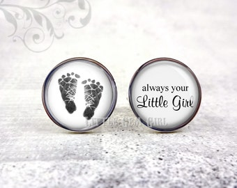 Baby Foot Print Hand Print Cuff Links - Footprint Cuff Links - Baby Photo Cuff Links - Father's Day New Dad Cuff Links - Always Little Girl