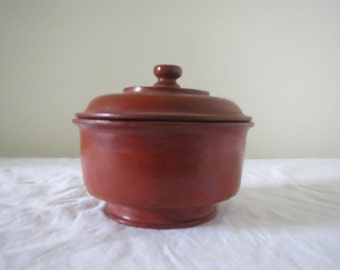 Red Burmese Lacquer Bowl with a lid- Medium sized