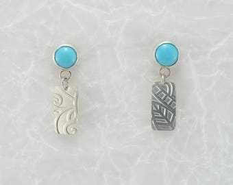 Turquoise earrings with patterned silver dangle, sterling silver, gemstone, nature lover, gift for her, southwestern, unique jewelry